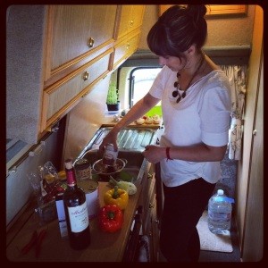 Slave to the stove, boy it gets hot cooking in a camper!
